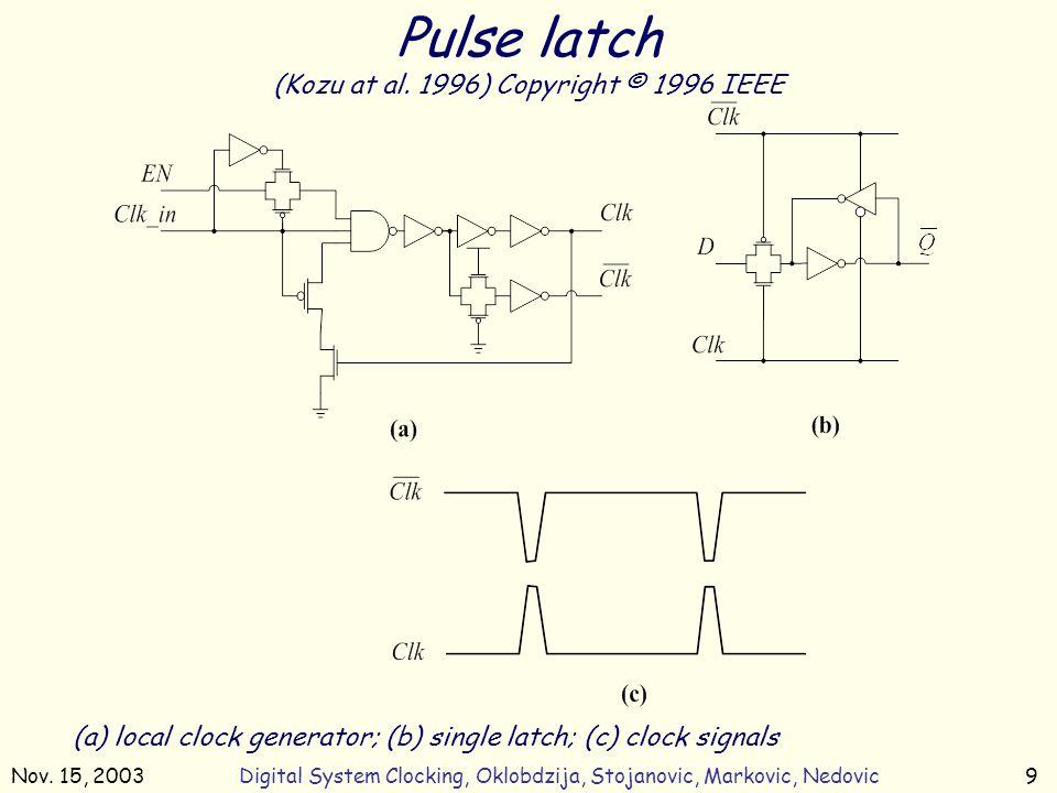 Nov. 15, 2003Digital System Clocking, Oklobdzija, Stojanovic, Markovic, Nedovic9 (a) local clock generator; (b) single latch; (c) clock signals Pulse