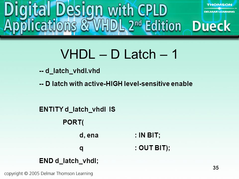 35 VHDL – D Latch – 1 -- d_latch_vhdl.vhd -- D latch with active-HIGH level-sensitive enable ENTITY d_latch_vhdl IS PORT( d, ena: IN BIT; q: OUT BIT);