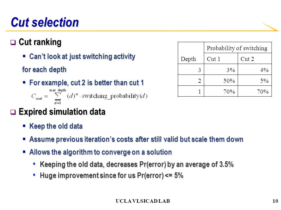 UCLA VLSICAD LAB Cut selection  Cut ranking  Can't look at just switching activity for each depth  For example, cut 2 is better than cut 1  Expired simulation data  Keep the old data  Assume previous iteration's costs after still valid but scale them down  Allows the algorithm to converge on a solution Keeping the old data, decreases Pr(error) by an average of 3.5% Keeping the old data, decreases Pr(error) by an average of 3.5% Huge improvement since for us Pr(error) <= 5% Huge improvement since for us Pr(error) <= 5% Depth Probability of switching Cut 1Cut 2 33%4% 250%5% 170% 10