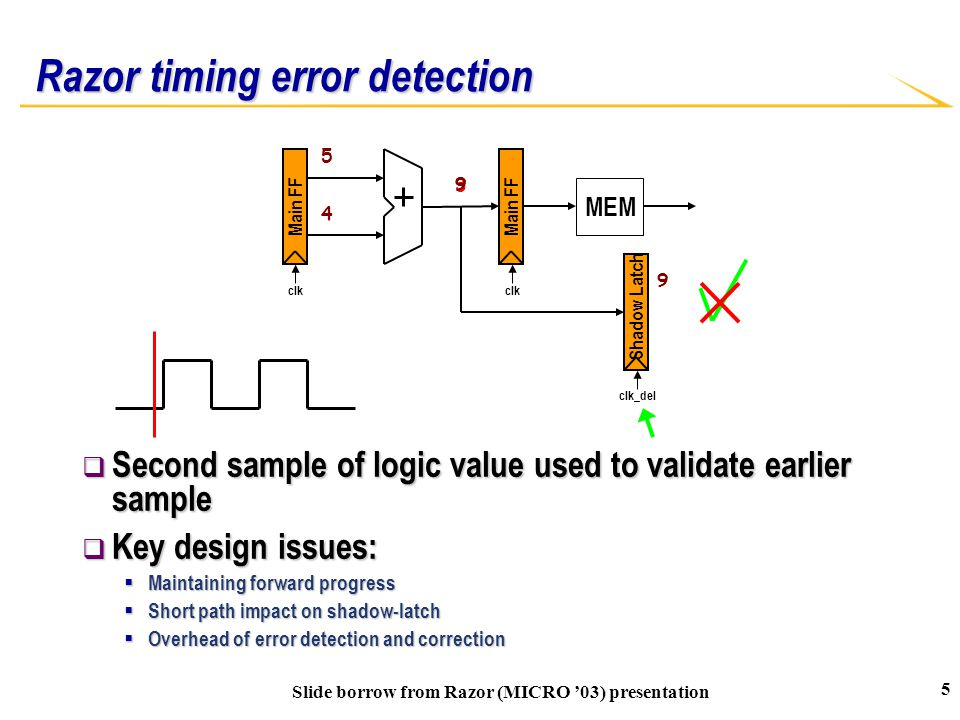 Razor timing error detection  Second sample of logic value used to validate earlier sample  Key design issues:  Maintaining forward progress  Shor