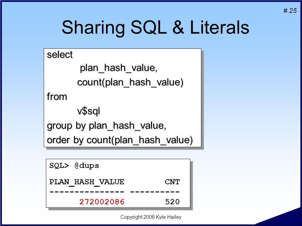 #.25 Copyright 2006 Kyle Hailey Sharing SQL & Literals select plan_hash_value, plan_hash_value,count(plan_hash_value)fromv$sql group by plan_hash_value, order by count(plan_hash_value) select plan_hash_value, plan_hash_value,count(plan_hash_value)fromv$sql group by plan_hash_value, order by count(plan_hash_value) SQL> @dups PLAN_HASH_VALUE CNT --------------- ---------- 272002086 520 SQL> @dups PLAN_HASH_VALUE CNT --------------- ---------- 272002086 520