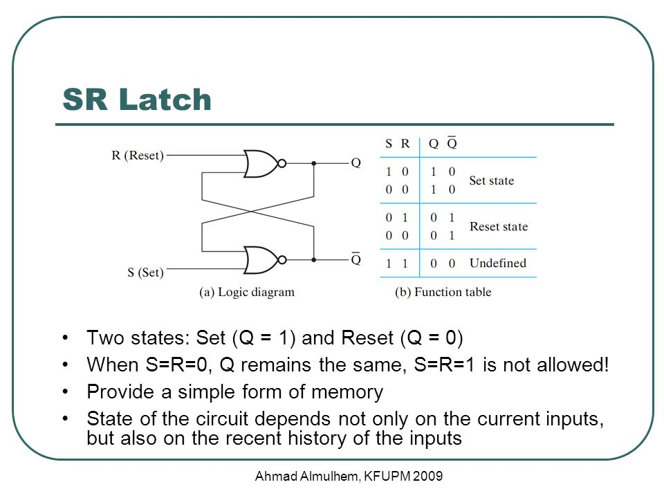 SR Latch Two states: Set (Q = 1) and Reset (Q = 0) When S=R=0, Q remains the same, S=R=1 is not allowed.