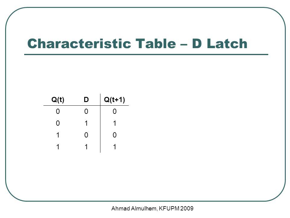 Characteristic Table – D Latch Q(t)DQ(t+1) 000 011 100 111 Ahmad Almulhem, KFUPM 2009