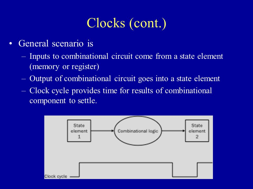Clocks (cont.) General scenario is –Inputs to combinational circuit come from a state element (memory or register) –Output of combinational circuit goes into a state element –Clock cycle provides time for results of combinational component to settle.
