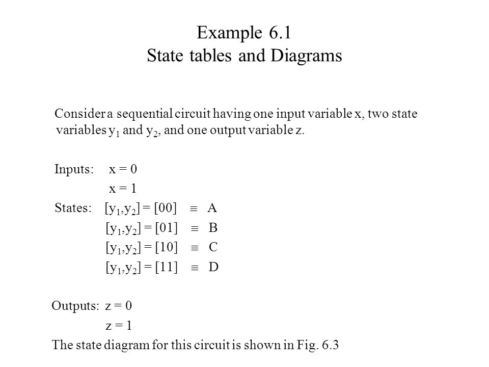 Example 6.1 State tables and Diagrams Consider a sequential circuit having one input variable x, two state variables y 1 and y 2, and one output varia