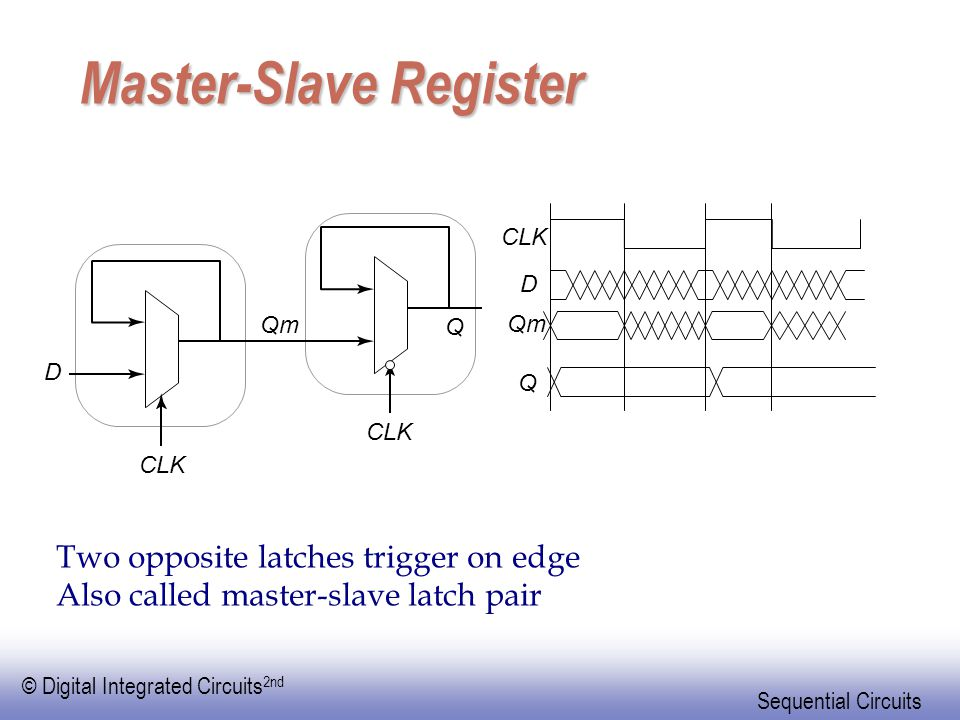 © Digital Integrated Circuits 2nd Sequential Circuits Master-Slave Register Two opposite latches trigger on edge Also called master-slave latch pair C