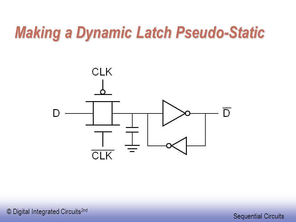 © Digital Integrated Circuits 2nd Sequential Circuits Making a Dynamic Latch Pseudo-Static