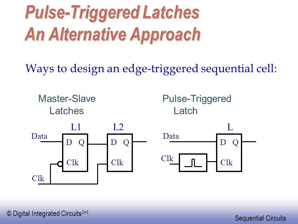 © Digital Integrated Circuits 2nd Sequential Circuits Pulse-Triggered Latches An Alternative Approach Master-Slave Latches D Clk QD Q Data D Clk Q Dat