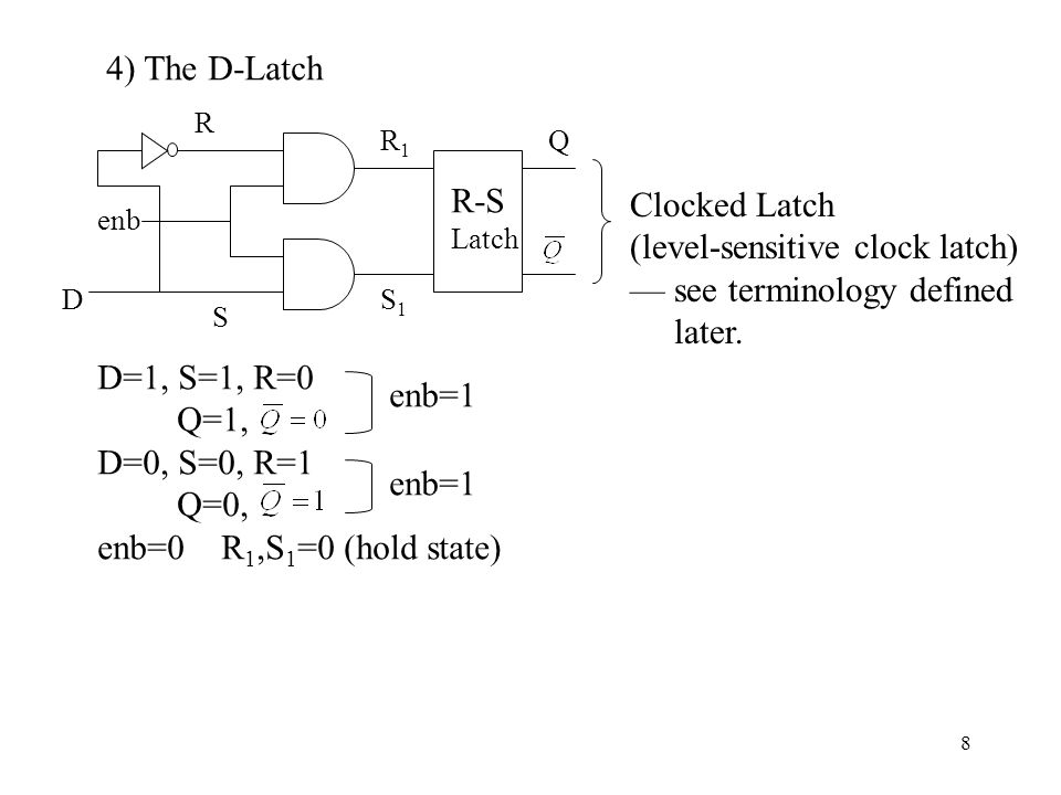 8 4) The D-Latch R-S Latch D S R R1R1 S1S1 Q enb Clocked Latch (level-sensitive clock latch) — see terminology defined later. D=1, S=1, R=0 Q=1, D=0,