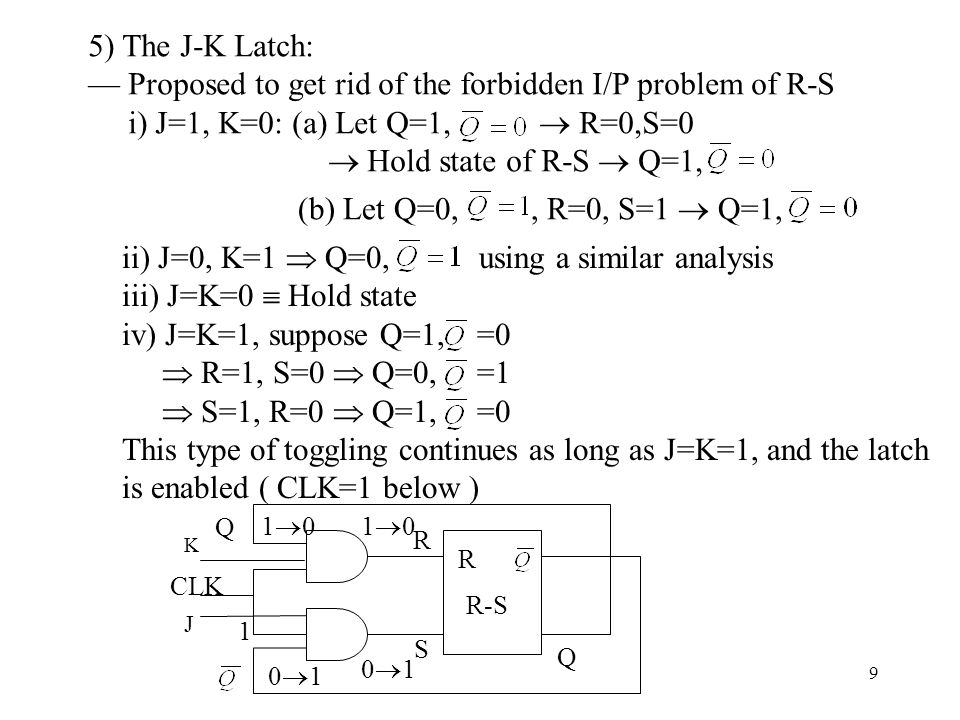 9 5) The J-K Latch: — Proposed to get rid of the forbidden I/P problem of R-S i) J=1, K=0: (a) Let Q=1,  R=0,S=0  Hold state of R-S  Q=1, ii) J=0,