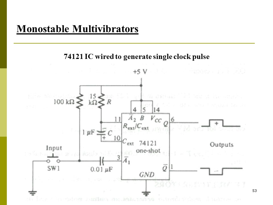 53 Monostable Multivibrators 74121 IC wired to generate single clock pulse