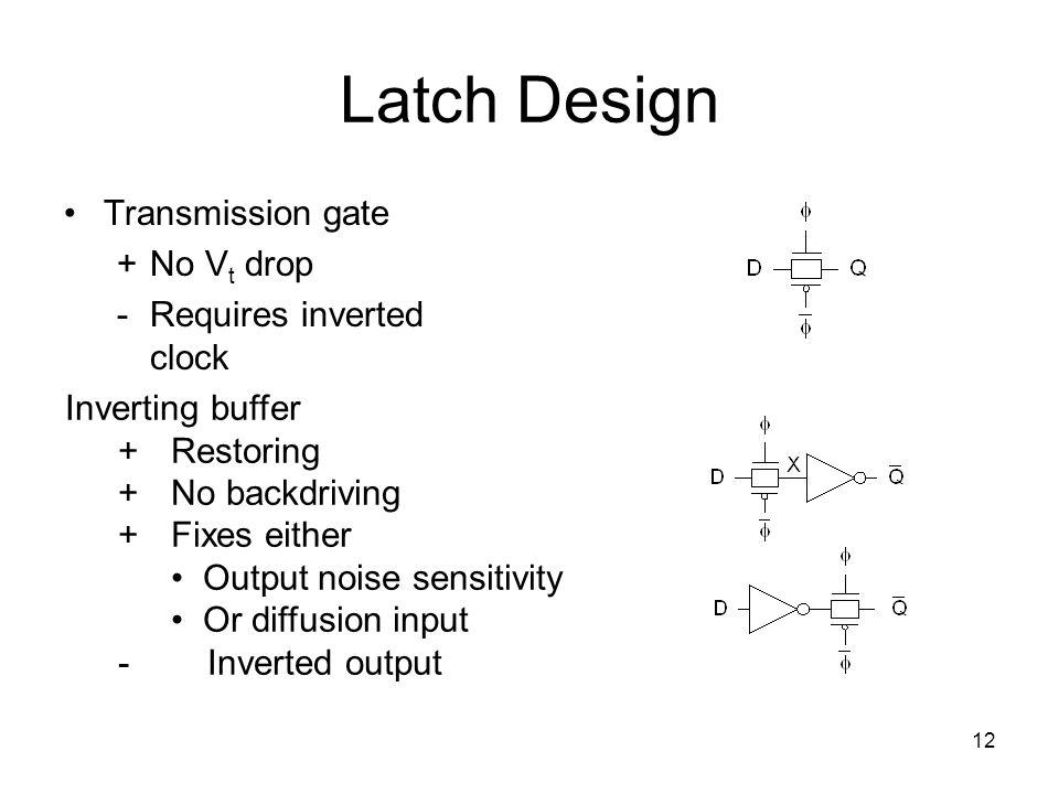 12 Latch Design Transmission gate +No V t drop - Requires inverted clock Inverting buffer +Restoring +No backdriving +Fixes either Output noise sensit