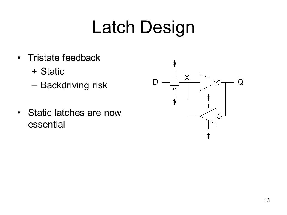 13 Latch Design Tristate feedback +Static –Backdriving risk Static latches are now essential