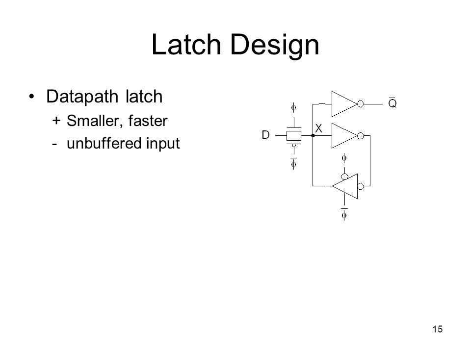 15 Latch Design Datapath latch +Smaller, faster - unbuffered input