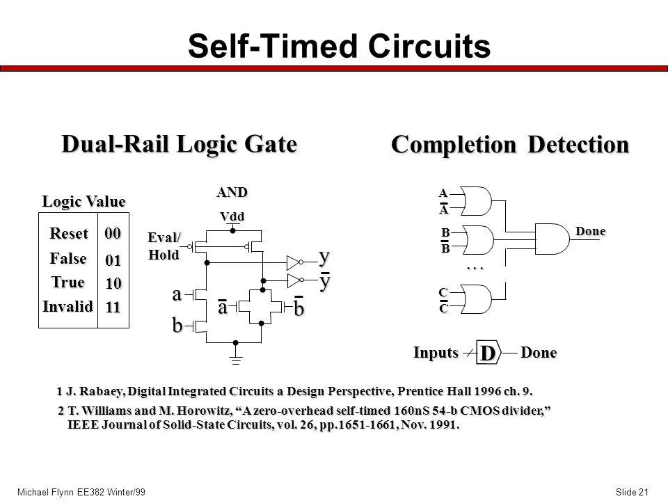 Slide 21Michael Flynn EE382 Winter/99 Self-Timed Circuits A A B B C C... Done D InputsDone Completion Detection Reset False True Invalid 00 01 10 11 V