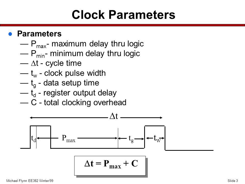 Slide 3Michael Flynn EE382 Winter/99 Clock Parameters l Parameters —P max - maximum delay thru logic —P min - minimum delay thru logic —  t - cycle time —t w - clock pulse width —t g - data setup time —t d - register output delay —C - total clocking overhead tgtg –tw–tw P max tdtd tt  t = P max + C