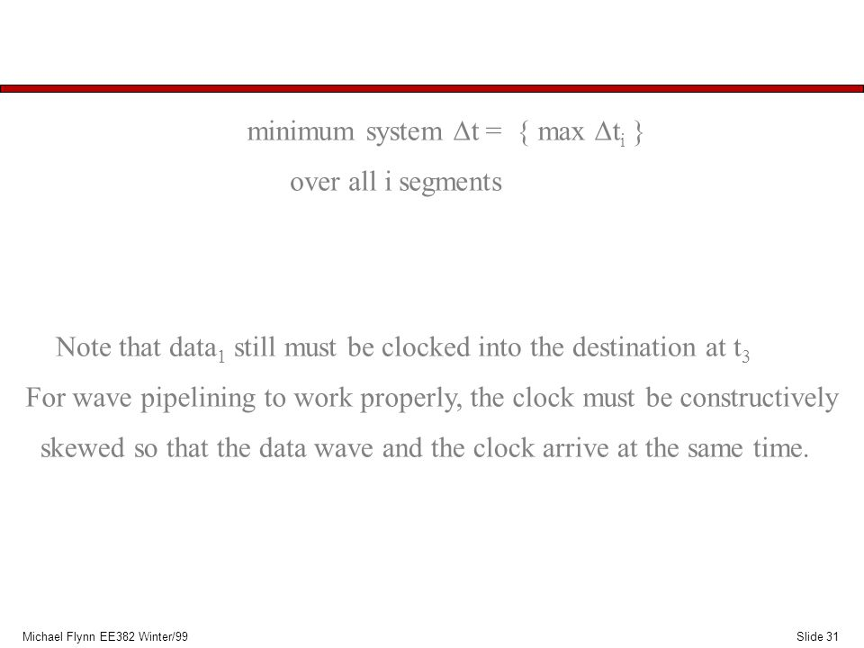 Slide 31Michael Flynn EE382 Winter/99 minimum system  t = { max  t i } over all i segments For wave pipelining to work properly, the clock must be c