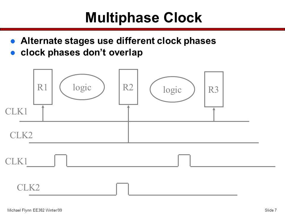 Slide 7Michael Flynn EE382 Winter/99 Multiphase Clock R1R2 R3 logic CLK1 CLK2 CLK1 CLK2 l Alternate stages use different clock phases l clock phases d