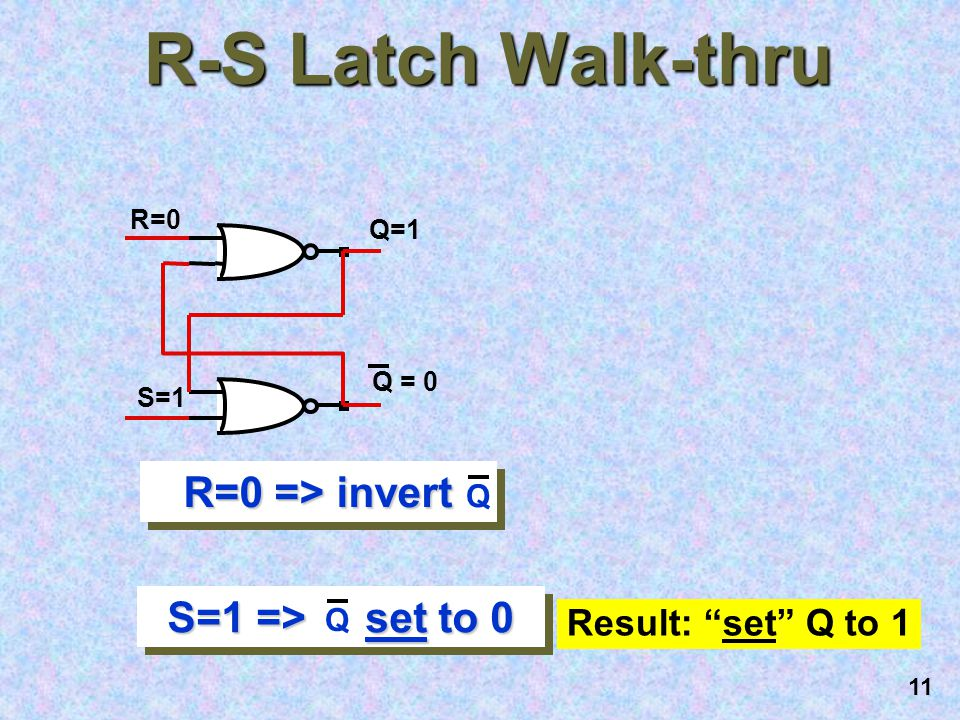 10 R-S Latch Walk-thru R=1 S=0 Q=0 Q = 1 R=1 => Q = 0 ( reset function ) S=0 => invert Q Result: Reset Q to 0