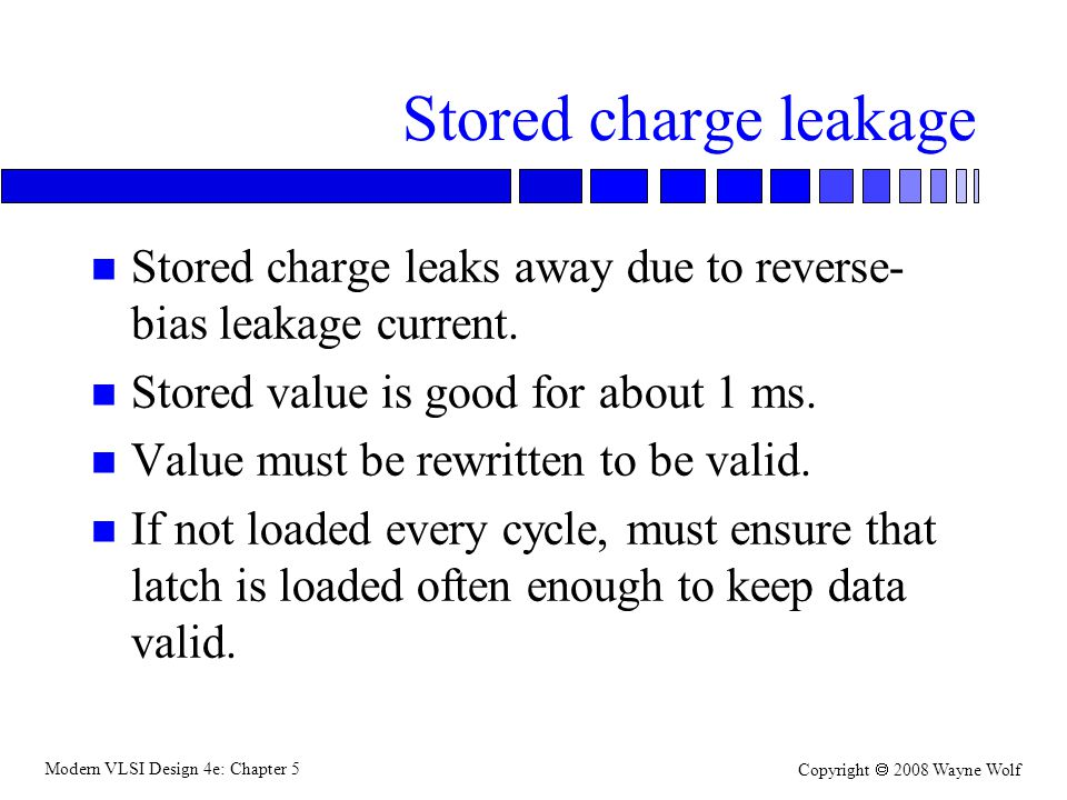 Modern VLSI Design 4e: Chapter 5 Copyright  2008 Wayne Wolf Stored charge leakage n Stored charge leaks away due to reverse- bias leakage current.