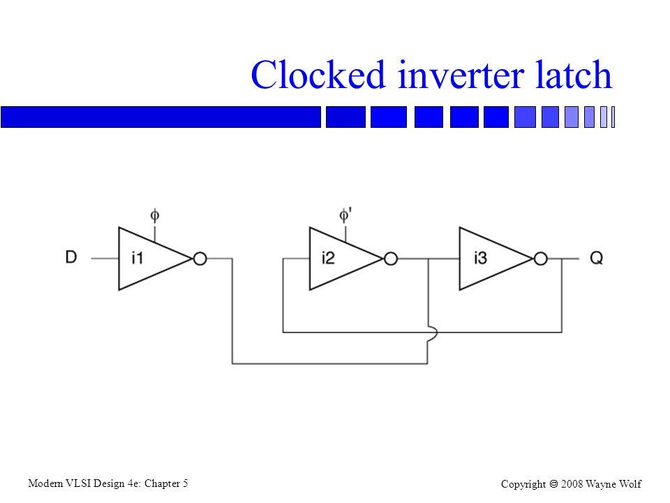 Modern VLSI Design 4e: Chapter 5 Copyright  2008 Wayne Wolf Clocked inverter latch