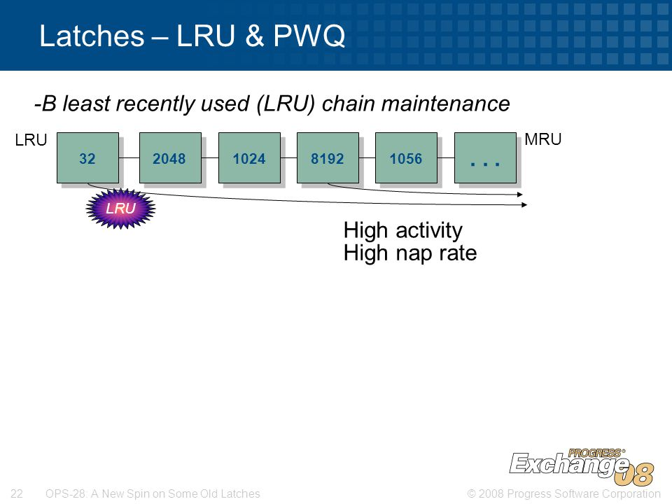© 2008 Progress Software Corporation22 OPS-28: A New Spin on Some Old Latches Latches – LRU & PWQ 32 2048 1024 -B least recently used (LRU) chain maintenance...