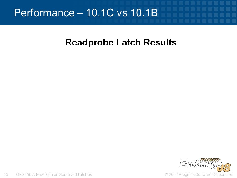 © 2008 Progress Software Corporation45 OPS-28: A New Spin on Some Old Latches Performance – 10.1C vs 10.1B House KeepingData Access
