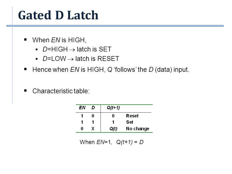Gated D Latch  When EN is HIGH,  D=HIGH  latch is SET  D=LOW  latch is RESET  Hence when EN is HIGH, Q 'follows' the D (data) input.