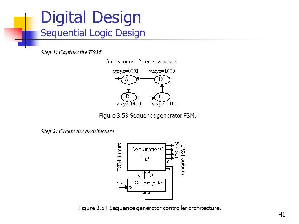 41 Step 1: Capture the FSM Step 2: Create the architecture Digital Design Sequential Logic Design Figure 3.53 Sequence generator FSM.