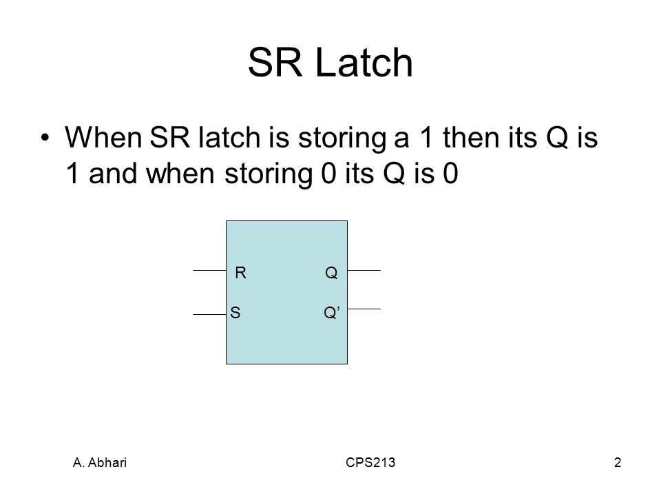 A. Abhari CPS2132 SR Latch When SR latch is storing a 1 then its Q is 1 and when storing 0 its Q is 0 R Q S Q'