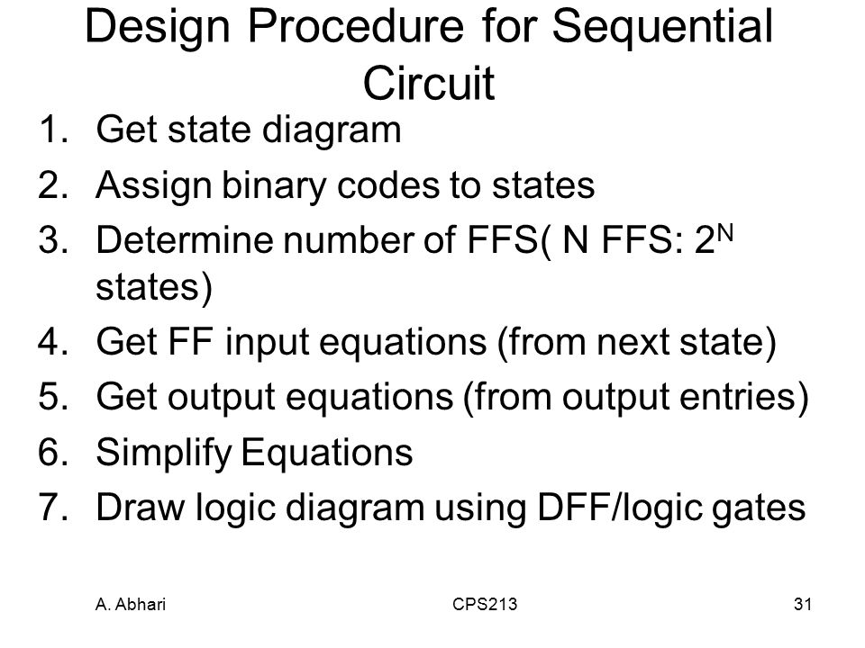 A. Abhari CPS21331 Design Procedure for Sequential Circuit 1.Get state diagram 2.Assign binary codes to states 3.Determine number of FFS( N FFS: 2 N s