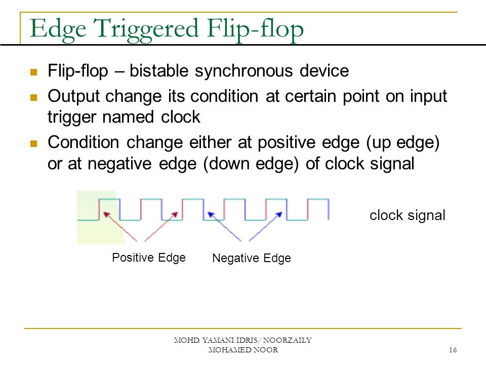 MOHD. YAMANI IDRIS/ NOORZAILY MOHAMED NOOR 16 Edge Triggered Flip-flop Flip-flop – bistable synchronous device Output change its condition at certain