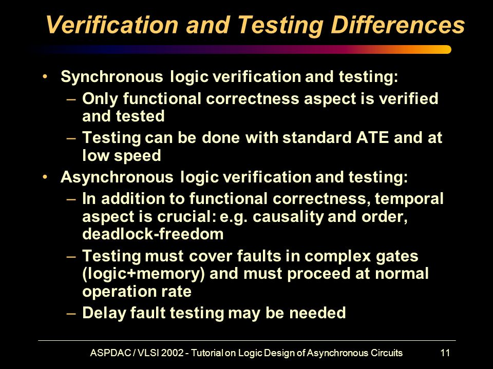 ASPDAC / VLSI 2002 - Tutorial on Logic Design of Asynchronous Circuits11 Verification and Testing Differences Synchronous logic verification and testing: –Only functional correctness aspect is verified and tested –Testing can be done with standard ATE and at low speed Asynchronous logic verification and testing: –In addition to functional correctness, temporal aspect is crucial: e.g.