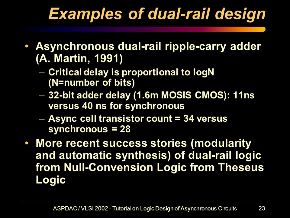 ASPDAC / VLSI 2002 - Tutorial on Logic Design of Asynchronous Circuits23 Examples of dual-rail design Asynchronous dual-rail ripple-carry adder (A.
