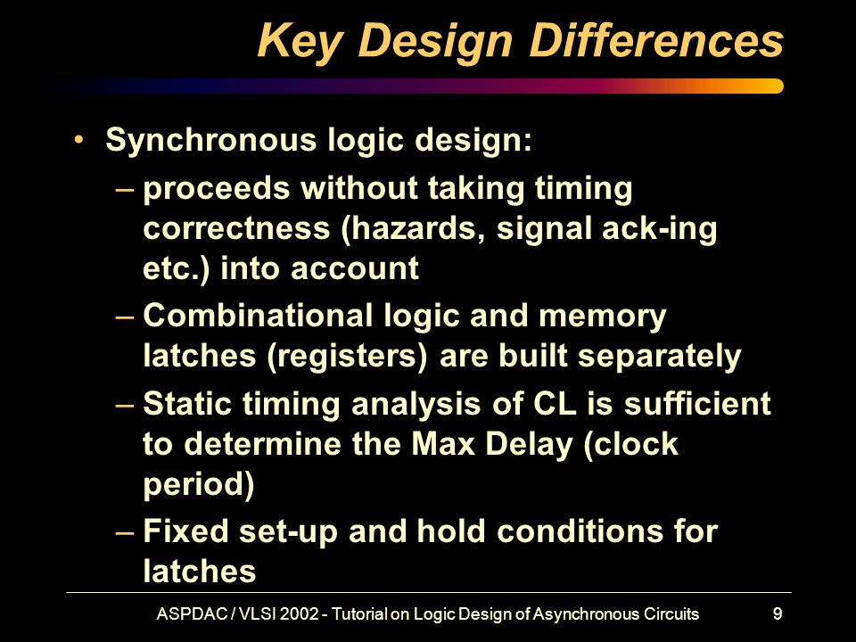ASPDAC / VLSI 2002 - Tutorial on Logic Design of Asynchronous Circuits9 Key Design Differences Synchronous logic design: –proceeds without taking timing correctness (hazards, signal ack-ing etc.) into account –Combinational logic and memory latches (registers) are built separately –Static timing analysis of CL is sufficient to determine the Max Delay (clock period) –Fixed set-up and hold conditions for latches