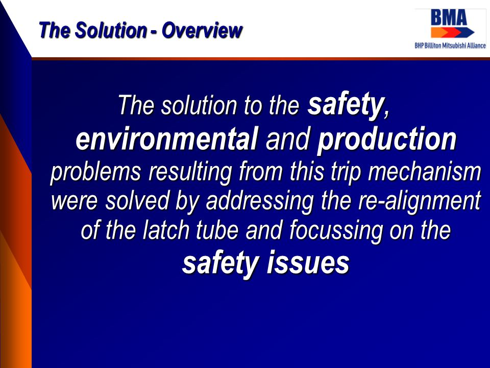 The Solution - Overview The solution to the safety, environmental and production problems resulting from this trip mechanism were solved by addressing
