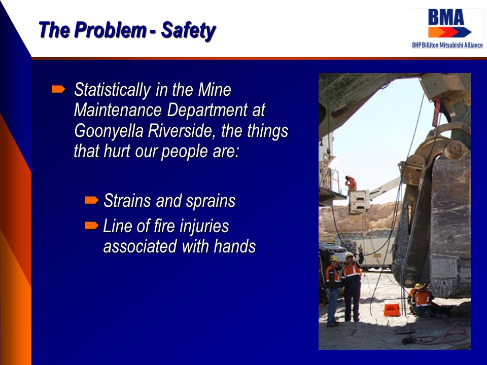 The Problem - Safety  Statistically in the Mine Maintenance Department at Goonyella Riverside, the things that hurt our people are:  Strains and spr