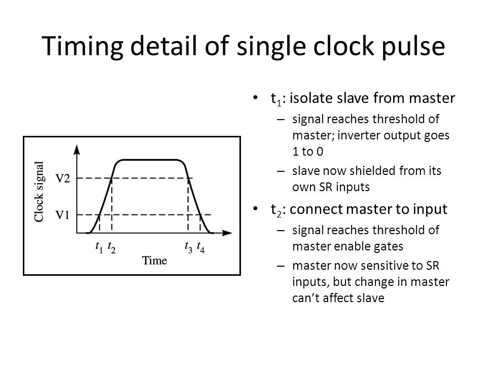 Timing detail of single clock pulse t 1 : isolate slave from master – signal reaches threshold of master; inverter output goes 1 to 0 – slave now shielded from its own SR inputs t 2 : connect master to input – signal reaches threshold of master enable gates – master now sensitive to SR inputs, but change in master can't affect slave