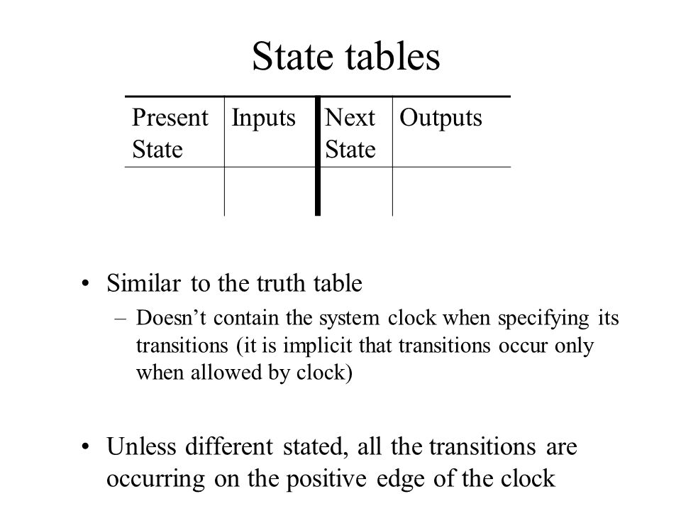 State tables Similar to the truth table –Doesn't contain the system clock when specifying its transitions (it is implicit that transitions occur only