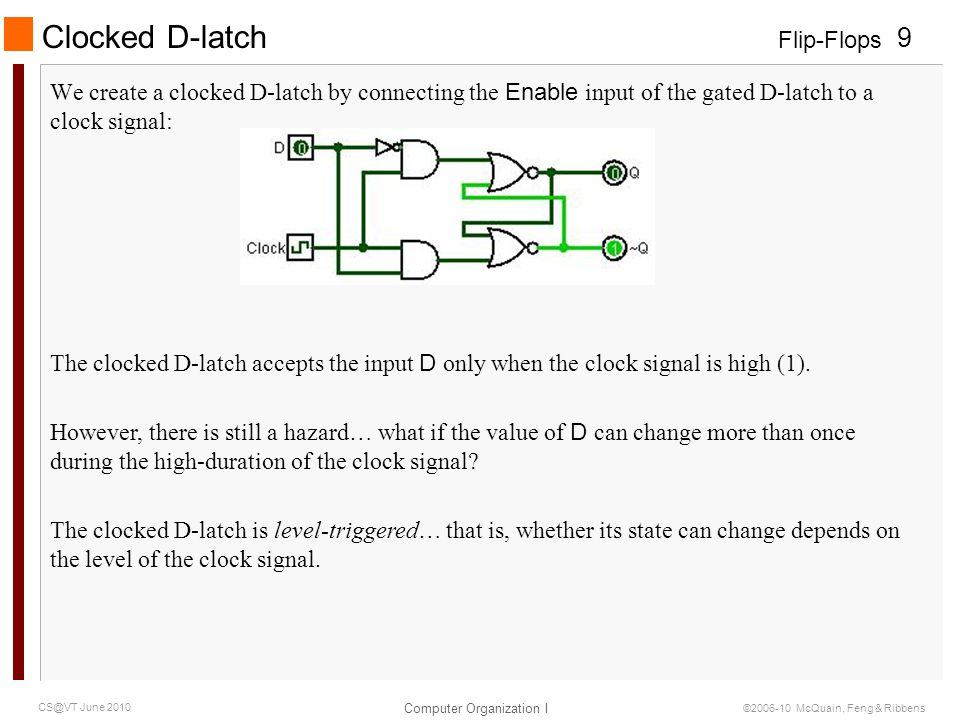 Flip-Flops Computer Organization I 9 CS@VT June 2010 ©2006-10 McQuain, Feng & Ribbens We create a clocked D-latch by connecting the Enable input of the gated D-latch to a clock signal: Clocked D-latch The clocked D-latch accepts the input D only when the clock signal is high (1).