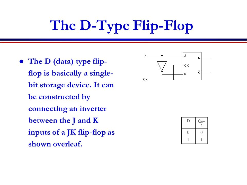 The D-Type Flip-Flop The D (data) type flip- flop is basically a single- bit storage device.