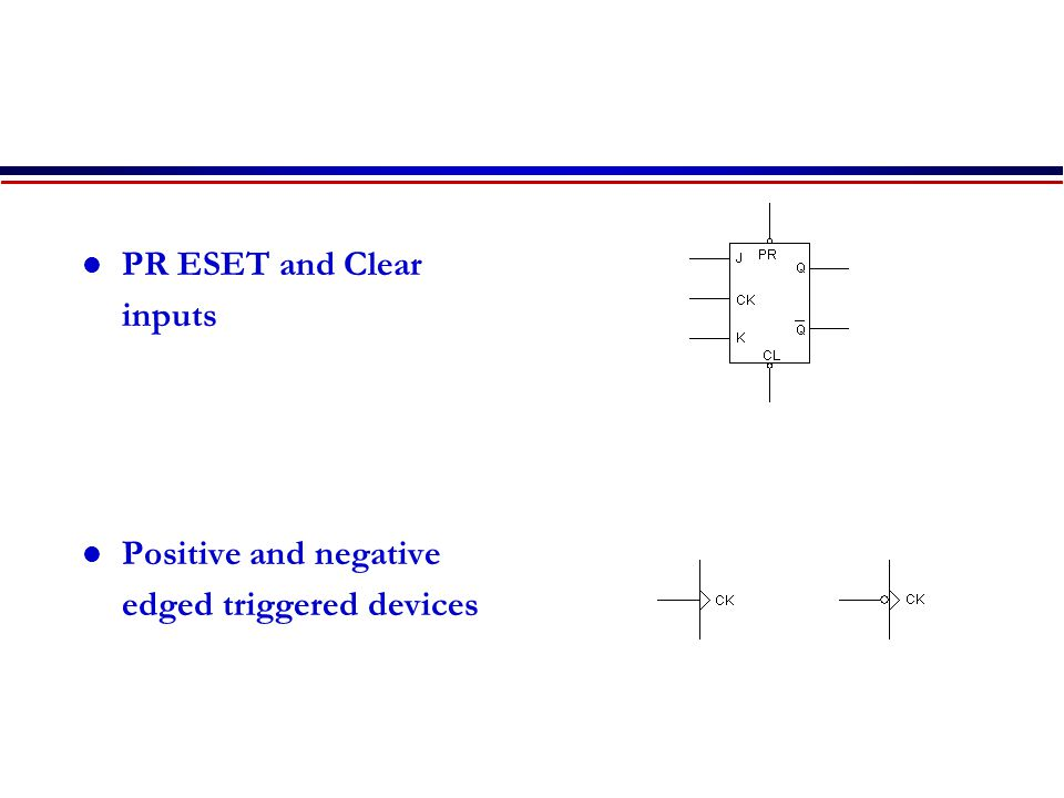 PR ESET and Clear inputs Positive and negative edged triggered devices