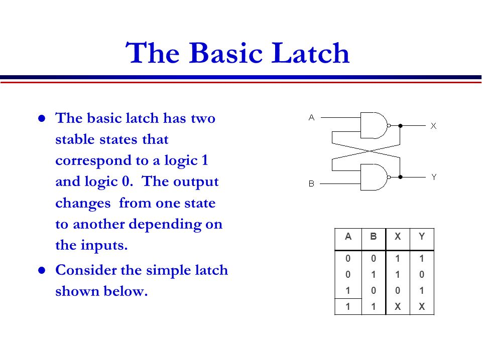 The Basic Latch The basic latch has two stable states that correspond to a logic 1 and logic 0.