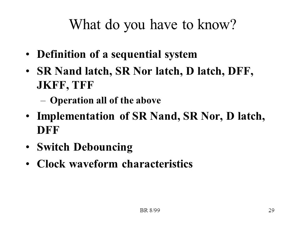 BR 8/9929 What do you have to know.