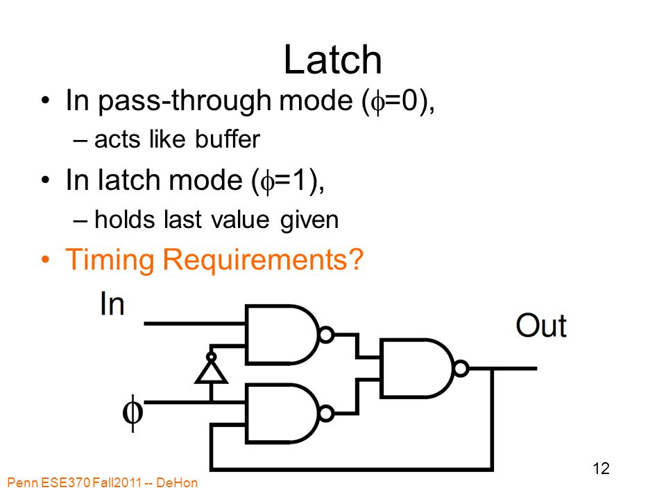 Latch In pass-through mode (  =0), –acts like buffer In latch mode (  =1), –holds last value given Timing Requirements.
