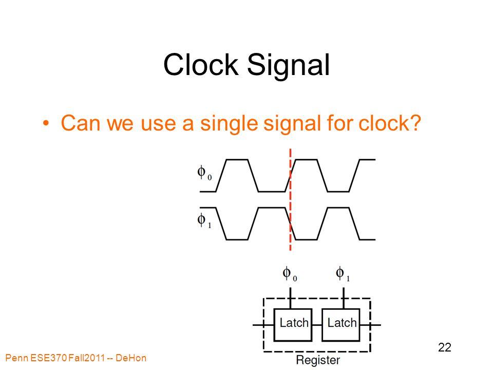 Clock Signal Can we use a single signal for clock? Penn ESE370 Fall2011 -- DeHon 22