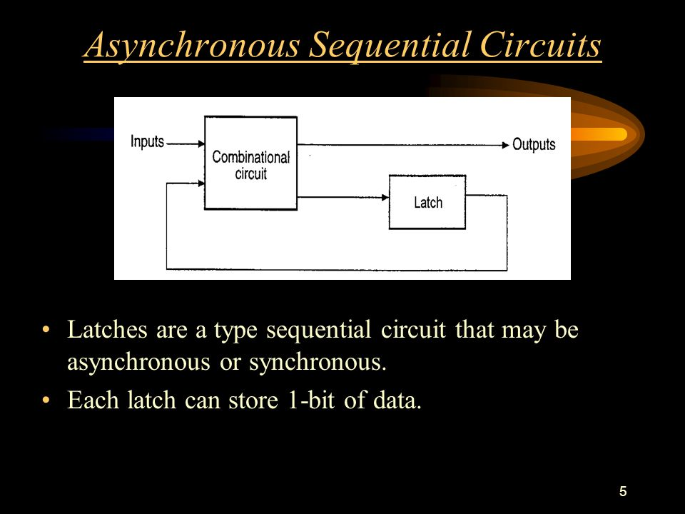 5 Asynchronous Sequential Circuits Latches are a type sequential circuit that may be asynchronous or synchronous.