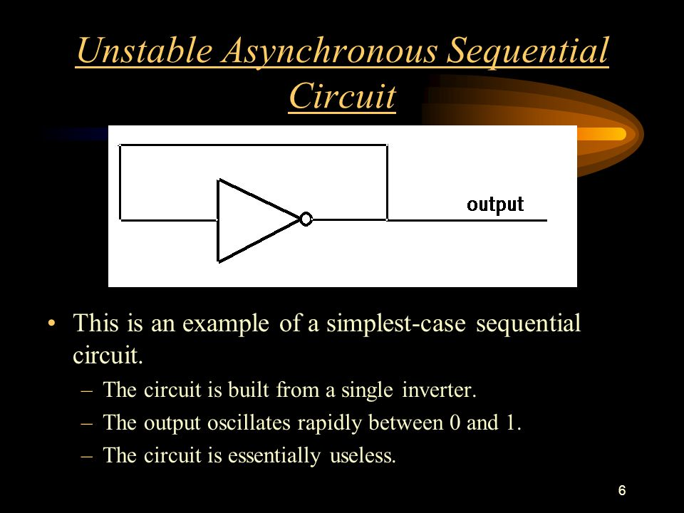 6 Unstable Asynchronous Sequential Circuit This is an example of a simplest-case sequential circuit.