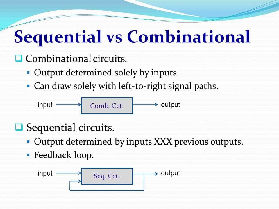 Sequential vs Combinational  Combinational circuits.