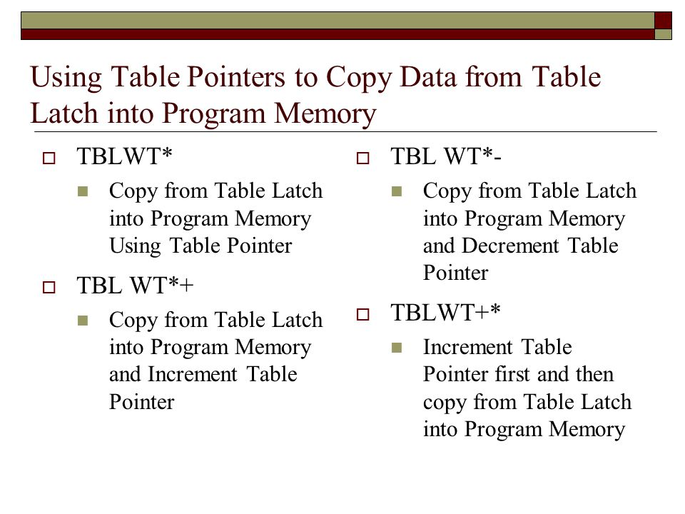 Using Table Pointers to Copy Data from Table Latch into Program Memory  TBLWT* Copy from Table Latch into Program Memory Using Table Pointer  TBL WT*+ Copy from Table Latch into Program Memory and Increment Table Pointer  TBL WT*- Copy from Table Latch into Program Memory and Decrement Table Pointer  TBLWT+* Increment Table Pointer first and then copy from Table Latch into Program Memory